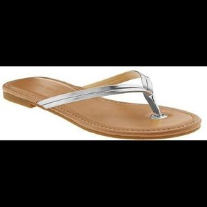 Banana Republic Mazzy Leather Flip Flop Silver